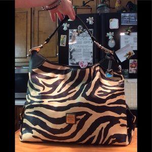 D&B Zebra Design Leather Lobster Claw Hobo Bag